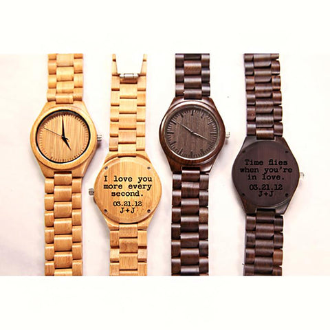 Image of Wood Engraved Watch ~ Ebony Link - Cece & Me - Home and Gifts