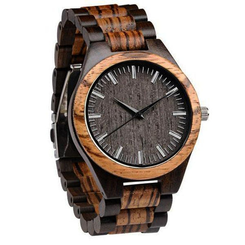 Image of Wood Engraved Watch ~ Zebra Ebony Link - Cece & Me - Home and Gifts