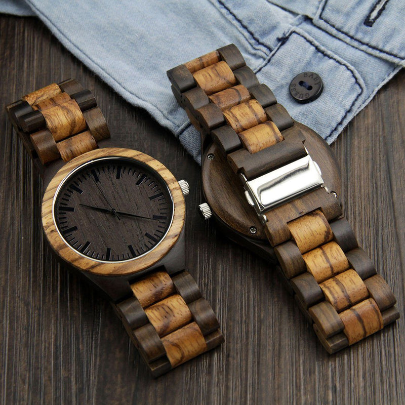 Wood Engraved Watch ~ Zebra Ebony Link - Cece & Me - Home and Gifts