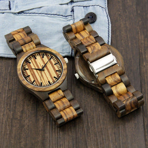 Wood Engraved Watch ~ Zebra Face Link