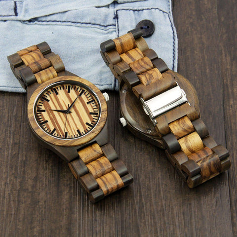 Image of Wood Engraved Watch ~ Zebra Face Link - Cece & Me - Home and Gifts