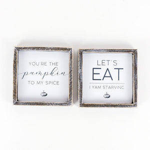 Wood Framed Coaster Magnetic ~ Eat/Pumpkin (Set of 2) - Cece & Me - Home and Gifts