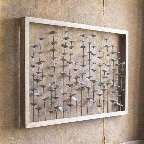 Wood Framed Metal Leaves Wall Hanging - Cece & Me - Home and Gifts