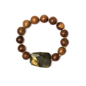 Wood & Labradorite Bracelet - Cece & Me - Home and Gifts