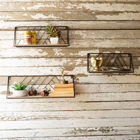 Wood & Metal Wall Shelves(Set of 3) - Cece & Me - Home and Gifts