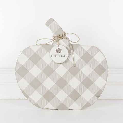 Wood Plaid Pumpkin ~ Gray/White - Cece & Me - Home and Gifts