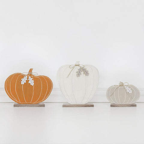 Wood Pumpkin On Base (Set of 3) - Cece & Me - Home and Gifts