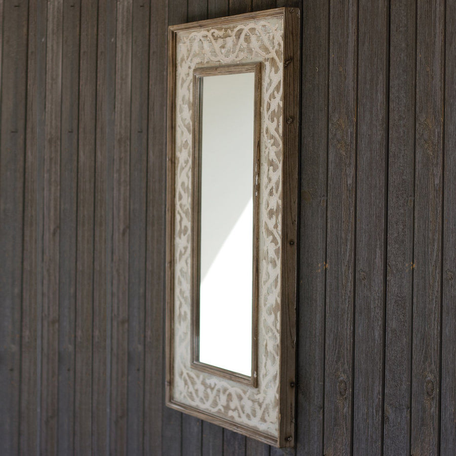 Wooden Framed Mirror With Fluer De Lis Detail - Cece & Me - Home and Gifts