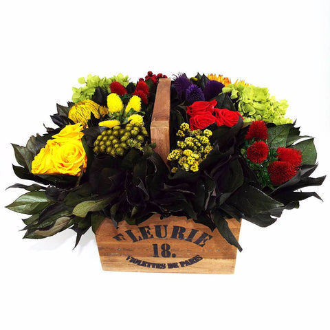 Preserved Florals Lavish Multicolor in Wooden Container w/Handle - Cece & Me - Home and Gifts