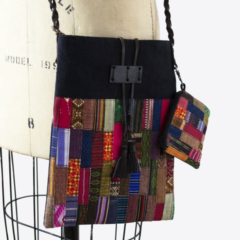 Image of Handmade Hill Tribe Artisan Patchwork Crossbody Handbag with Braided Leather Strap. - Cece & Me - Home and Gifts
