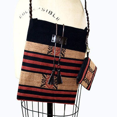 Handmade Naga Hill Tribe Artisan Crossbody Handbag with Braided Leather Strap. - Cece & Me - Home and Gifts