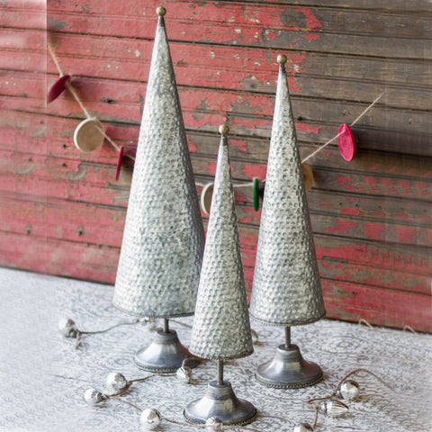 Zinc Topiaries With Beaded Brass Detail (Set of 3) - Cece & Me - Home and Gifts