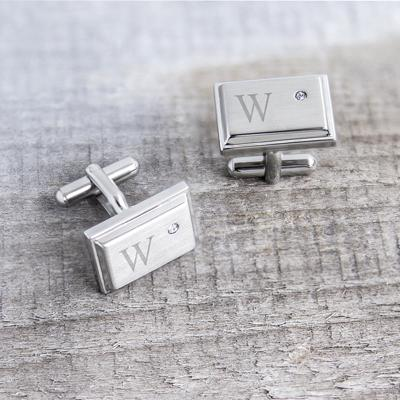 Image of Personalized Zircon Jewel Stainless Steel Cufflinks - Cece & Me - Home and Gifts