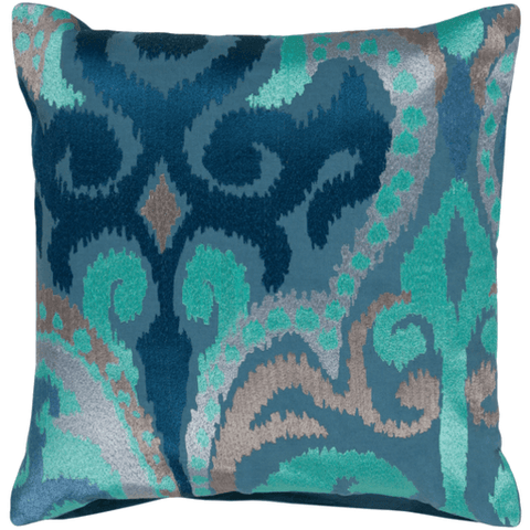 Ara Pillow ~ Denim, Dark Blue, Aqua, Lilac - Cece & Me - Home and Gifts
