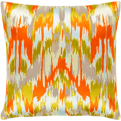 Image of Ara Pillow ~ Bright Orange, Butter, Lime, Pale Blue, Taupe, Back: Taupe - Cece & Me - Home and Gifts