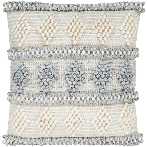 Anders  Pillow ~ Medium Gray, Cream, Khaki