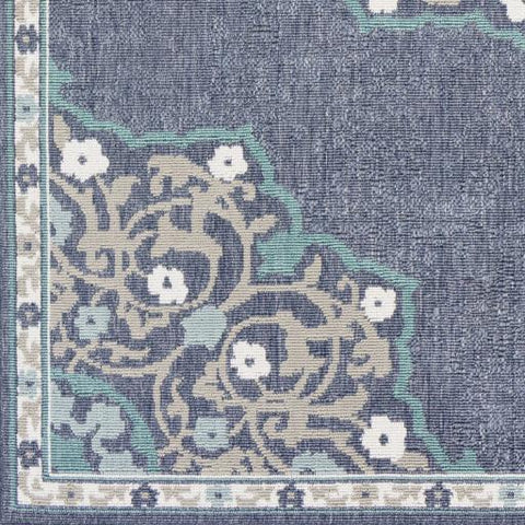 Alfresco Outdoor Rug IV ~ Charcoal/Taupe/Teal/White/Aqua - Cece & Me - Home and Gifts