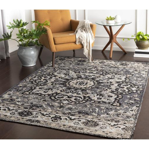 Amsterdam Rug ~ Charcoal, Medium Gray, Ice Blue - Cece & Me - Home and Gifts