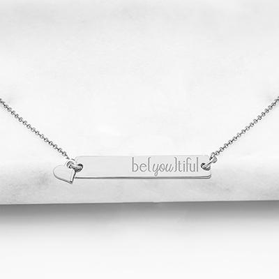 """be{you}tiful"" Horizontal Bar Necklace ~ Gold - Cece & Me - Home and Gifts"