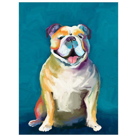 Best Friend - Bulldog On Blue Wall Art - Cece & Me - Home and Gifts