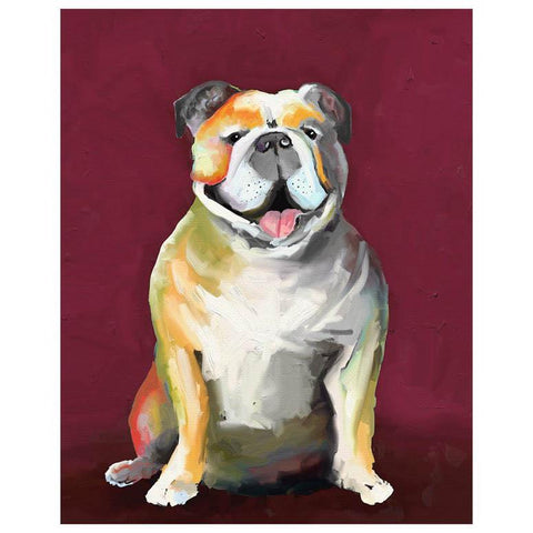 Best Friend - Bulldog On Maroon Wall Art - Cece & Me - Home and Gifts