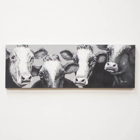 Image of Black and White Four Cows ~ Oil Painting - Cece & Me - Home and Gifts