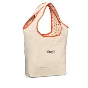 Image of Reversible Cotton Tote ~ Coral - Cece & Me - Home and Gifts
