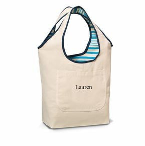 Image of Blue Reversible Cotton Tote - Cece & Me - Home and Gifts