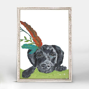 Boho Black Lab Mini Framed Canvas - Cece & Me - Home and Gifts