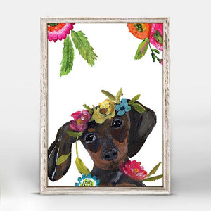 Boho Dachshund Mini Framed Canvas - Cece & Me - Home and Gifts