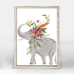 Boho Elephant Standing Mini Framed Canvas - Cece & Me - Home and Gifts