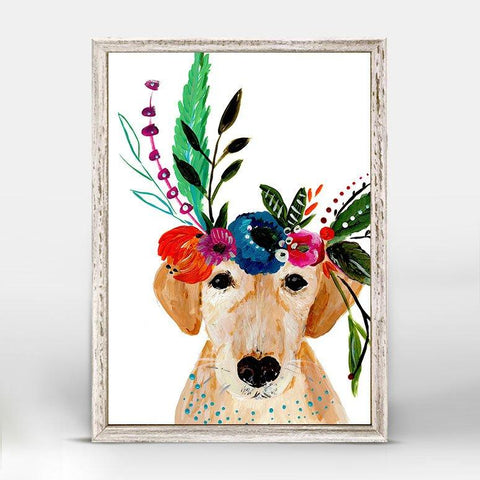 Boho Golden Dog Mini Framed Canvas - Cece & Me - Home and Gifts