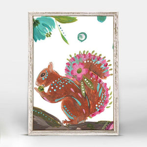 Boho Squirrel Mini Framed Canvas - Cece & Me - Home and Gifts