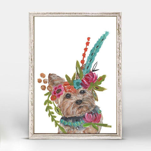 Boho Yorkie Mini Framed Canvas - Cece & Me - Home and Gifts