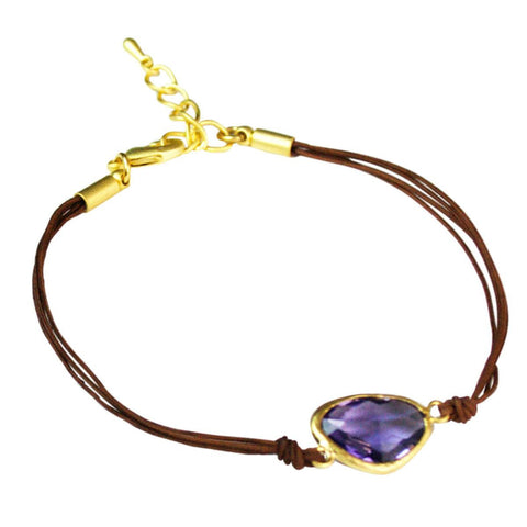 Brown Cord Purple Glass Stone Bracelet - Cece & Me - Home and Gifts