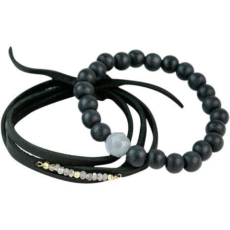 Image of Stretchy Bracelets Ebony Aquamarine - Cece & Me - Home and Gifts