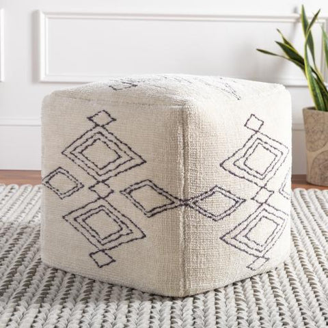 Braith Pouf ~ Cream/Charcoal - Cece & Me - Home and Gifts