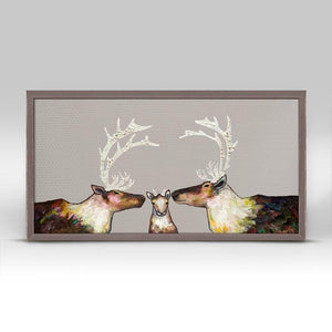 Caribou Family - Taupe Mini Framed Canvas - Cece & Me - Home and Gifts