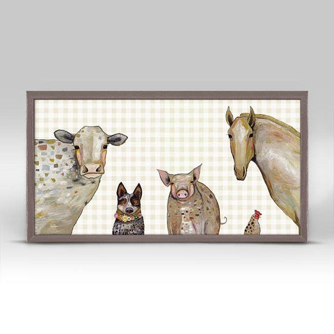 Cattle Dog and Crew Plaid Mini Framed Canvas - Cece & Me - Home and Gifts
