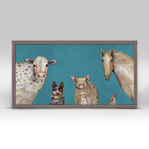 Image of Cattle Dog and Crew - Teal Mini Framed Canvas - Cece & Me - Home and Gifts