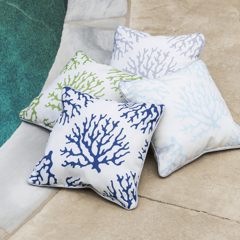 Image of Coral Outdoor Pillow ~ Coral & White - Cece & Me - Home and Gifts