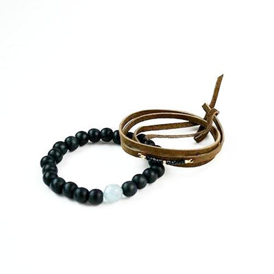 Spinel Bar Leather Wrap Bracelet - Cece & Me - Home and Gifts