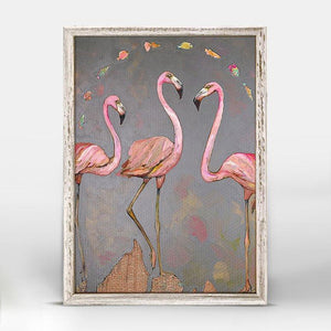 Flamingos and Fish Mini Framed Canvas - Cece & Me - Home and Gifts