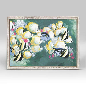 Flora And Sea - School of Fish Mini Framed Canvas - Cece & Me - Home and Gifts