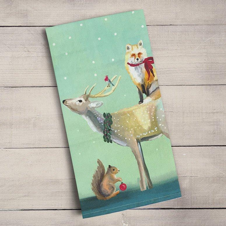 Buck, Fox And Squirrel Tea Towels ~ Holiday Collection - Cece & Me - Home and Gifts