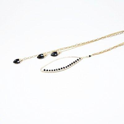 Bay Leaf Lariat -Black Onyx - Cece & Me - Home and Gifts