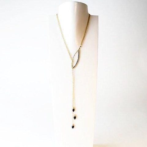 Image of Bay Leaf Lariat -Black Onyx - Cece & Me - Home and Gifts