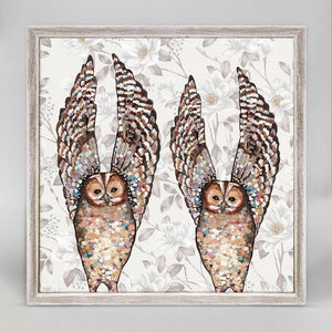 Owl Duo - Floral Mini Framed Canvas - Cece & Me - Home and Gifts