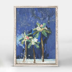 Palm Tree Under Flowers And Stars Mini Framed Canvas - Cece & Me - Home and Gifts
