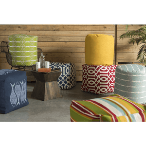 Harper Outdoor Safe Pouf ~ Saffron - Cece & Me - Home and Gifts